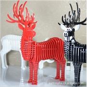 供应木目公鹿摆设 现代家居饰品 摆件动物