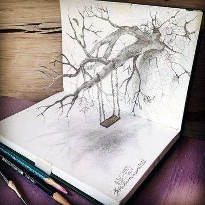 3d铅笔画有穿透力:树木像从纸张里长出来