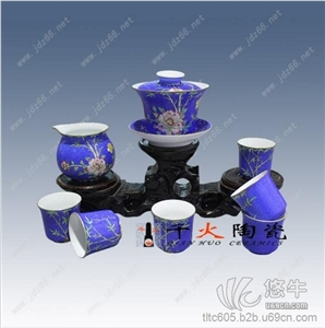 供应中秋节礼品景德镇高档手绘茶具高档陶瓷礼品