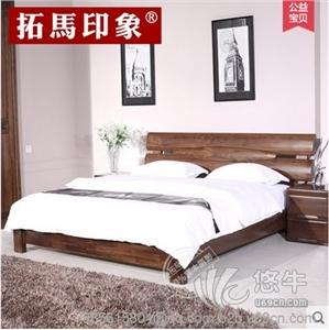 供应拓马印象全实木床简约1.5/1.8米双人床实木家具婚床中式实木床
