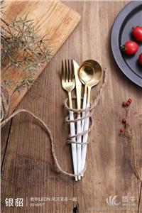 铝拉丝油铜拉丝 产品汇 供应最具人气GOA系列白柄金色拉丝系列高档不锈钢刀叉批量订货