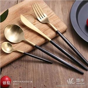 供应葡萄牙同款Cutipol系列不锈钢刀叉经典黑柄金色头高档西餐刀叉