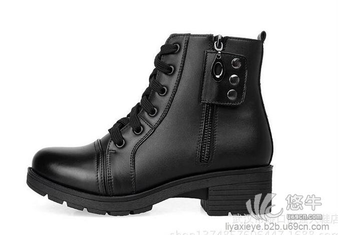 3515强人女靴中筒女士单皮靴时尚铆钉休闲保暖马丁靴潮