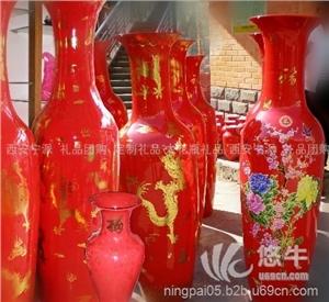 供应西安红瓷牡丹大花瓶庆典吉祥开业大花瓶红金龙红牡丹大花瓶摆件