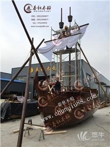 供应厂家直供手工定制精美海盗船木船景点观光船