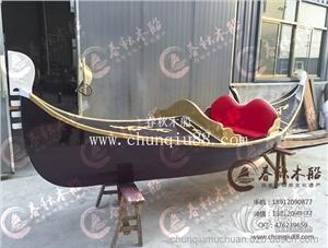 供应欧式木船威尼斯定制贡多拉小木船酒红色木船观光装饰