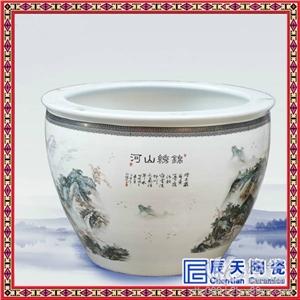 供应名人手绘陶瓷大缸景德镇粉彩陶瓷大缸酒店摆饰陶瓷大缸