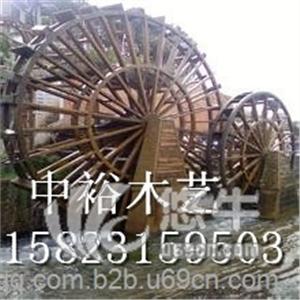 重庆厂家供应防腐木水车风水车轮碳化木水车实木水车木制景观