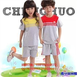 儿童套装 产品汇 供应西部元素夏季新款幼儿园纯棉校服儿童短袖短裤条纹套装班服