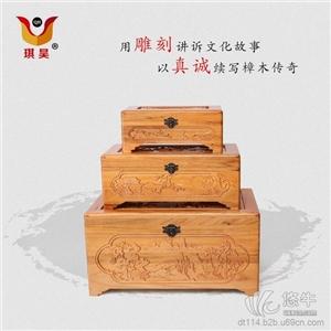 供应手工木雕老樟木山水如画套箱樟木箱储物字画箱书画箱送礼箱