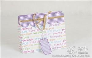 紫色蝴蝶结礼品纸袋