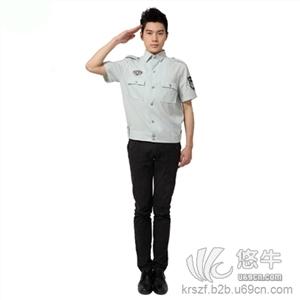 光谷服装厂定做夏季短袖物业保安工作服保安蓝衬衫定做