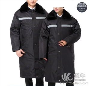 供应加厚保安大衣冬装加长保安防寒服军大衣工作服棉服多功能保安服厂家定做
