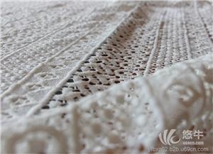 供应厂家现货直销欧根纱镂空水溶蕾丝面料棉线刺绣绣花布料
