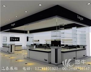 供应深圳高档密度板基材黑色烤漆LED灯条亚克力发光LOGO珠宝首饰展示柜定制工厂