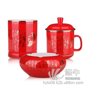 全棉三件套 产品汇 供应中国红瓷诗词三件套