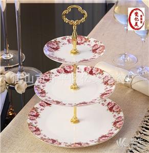供应骨瓷水果三层蛋糕点心盘陶瓷下午茶盘礼盒包装唐山