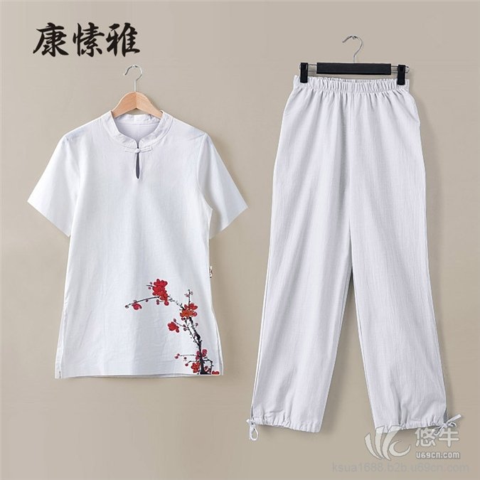 亚麻短袖太极服套装