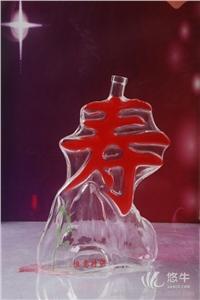 供应寿字酒瓶寿诞玻璃瓶500ml寿诞酒瓶