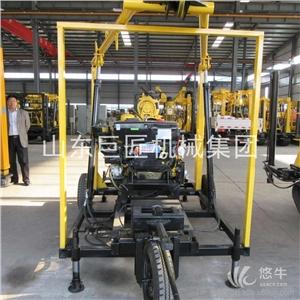 供应牵引式轮式全液压水井钻机130米打井设备130轮式勘探钻机