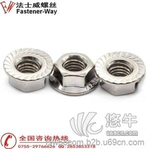 供應法蘭螺母不銹鋼螺母花齒六角防滑帶墊螺絲法蘭螺母304不銹鋼