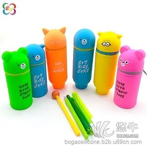 供应硅胶卡通笔筒 折叠伸缩个性笔袋 定制优惠硅胶卡通笔筒