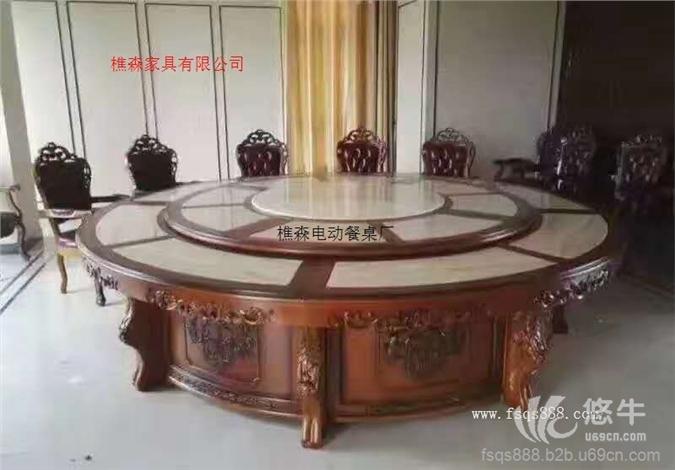红木雕花电动餐桌