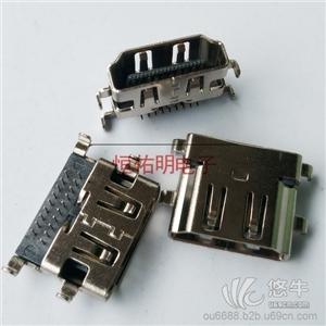 供应HDMI19P反向母座沉板插板高3.37HDMI19P母座